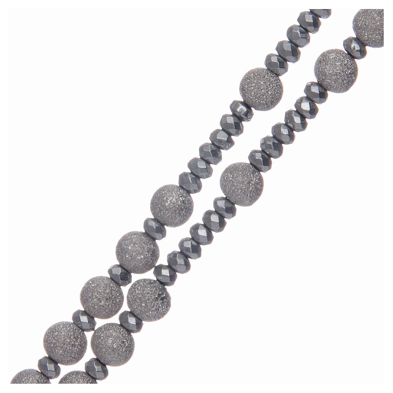 Rosario argento 925 grani diamantati 5 mm 4