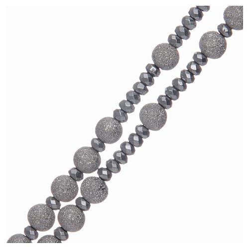 Rosario argento 925 grani diamantati 5 mm 3