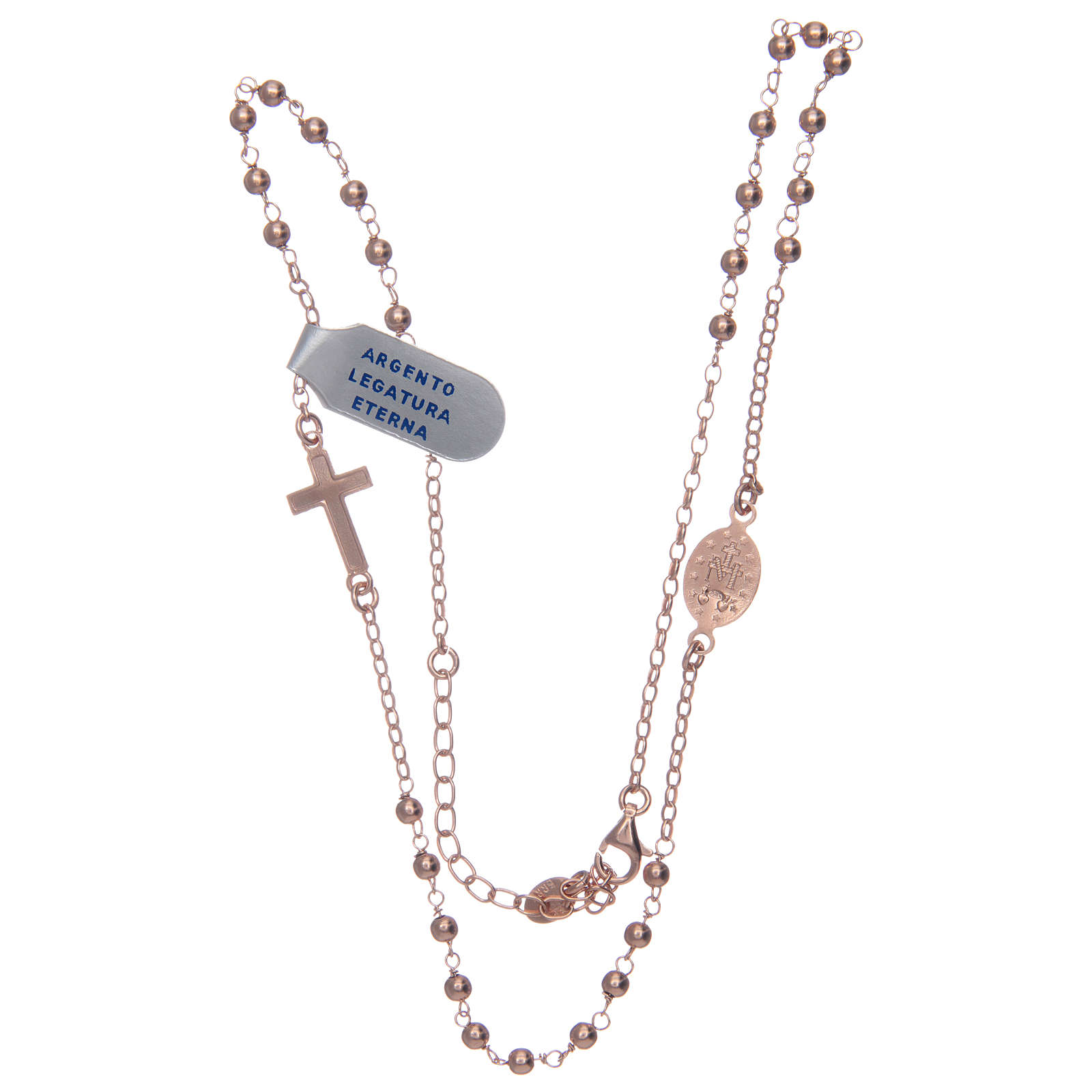 Rosary necklace in 925 sterling silver, rosè with shiny smooth grains 4