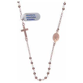 Rosary necklace in 925 sterling silver, rosè with shiny smooth grains s2