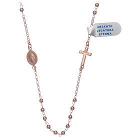 Collar Rosario plata lúcido 925 rosado s1