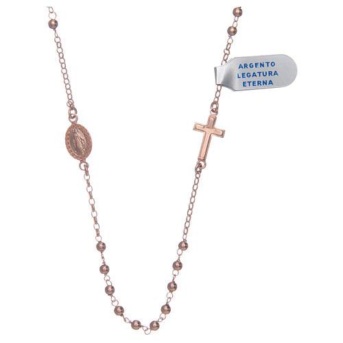 Collar Rosario plata lúcido 925 rosado 1