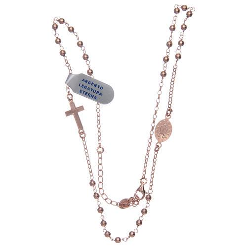 Collar Rosario plata lúcido 925 rosado 3