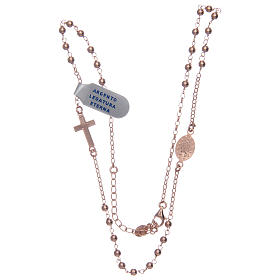 Rosary necklace in 925 sterling silver, rosè with shiny smooth grains s3