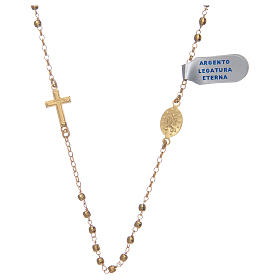Rosary choker in shiny 925 sterling silver, golden s2