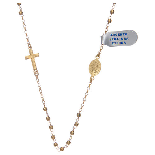 Rosary choker in shiny 925 sterling silver, golden 2