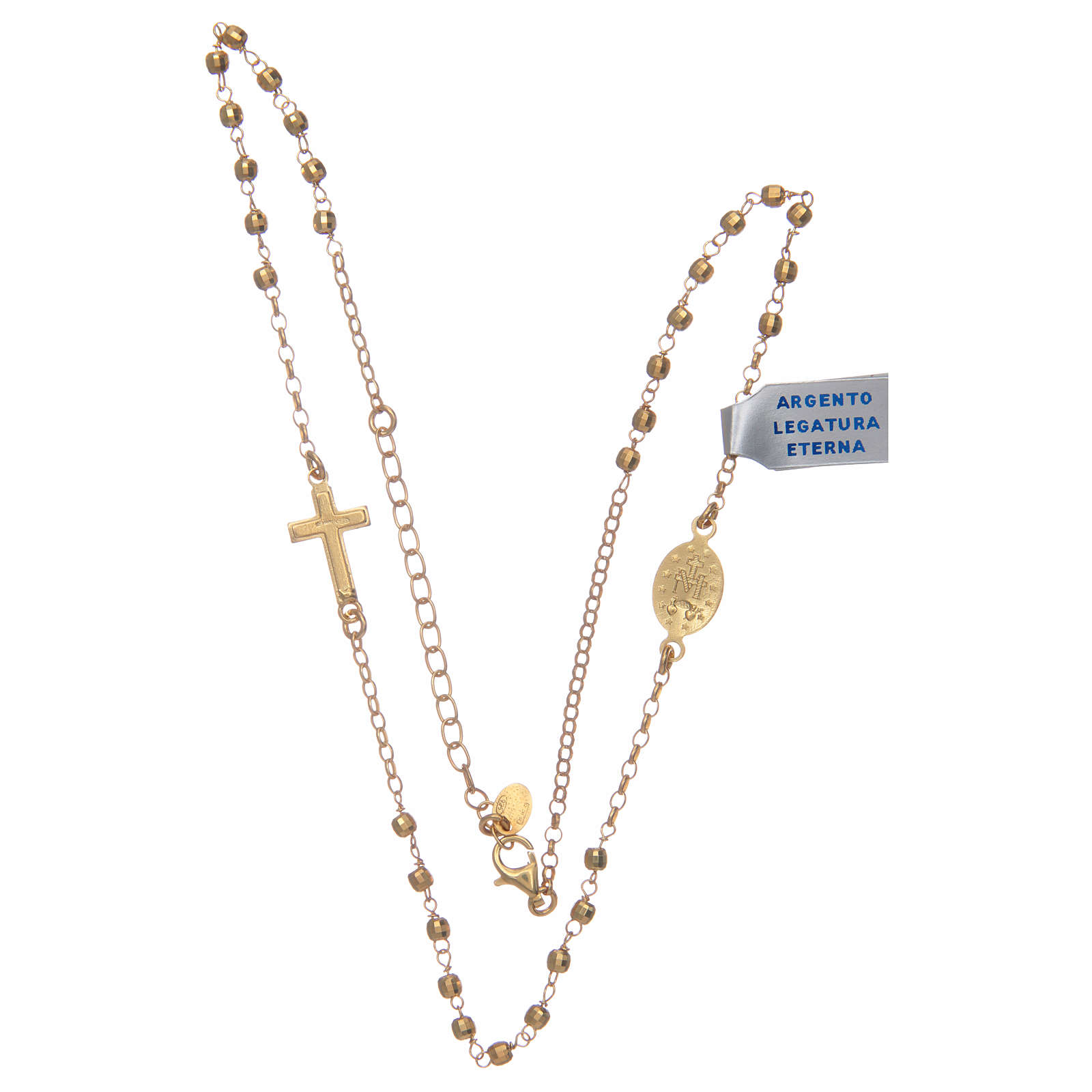 Rosary choker in shiny 925 sterling silver, golden 4