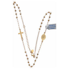 Rosary choker in shiny 925 sterling silver, golden s3