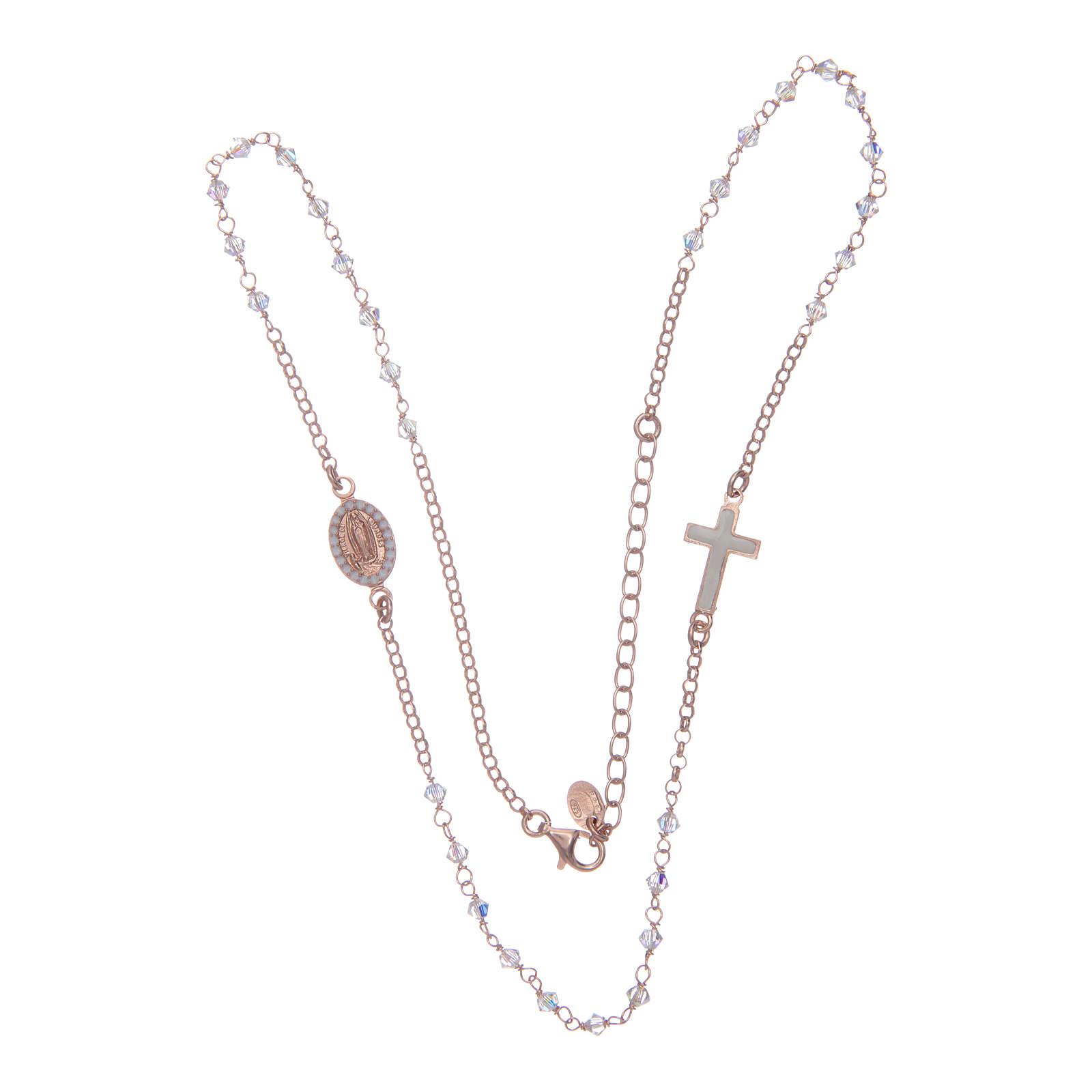Collar rosario plata 925 rosado con Swarovski transparentes 4