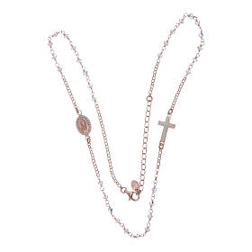 Collar rosario plata 925 rosado con Swarovski transparentes s4