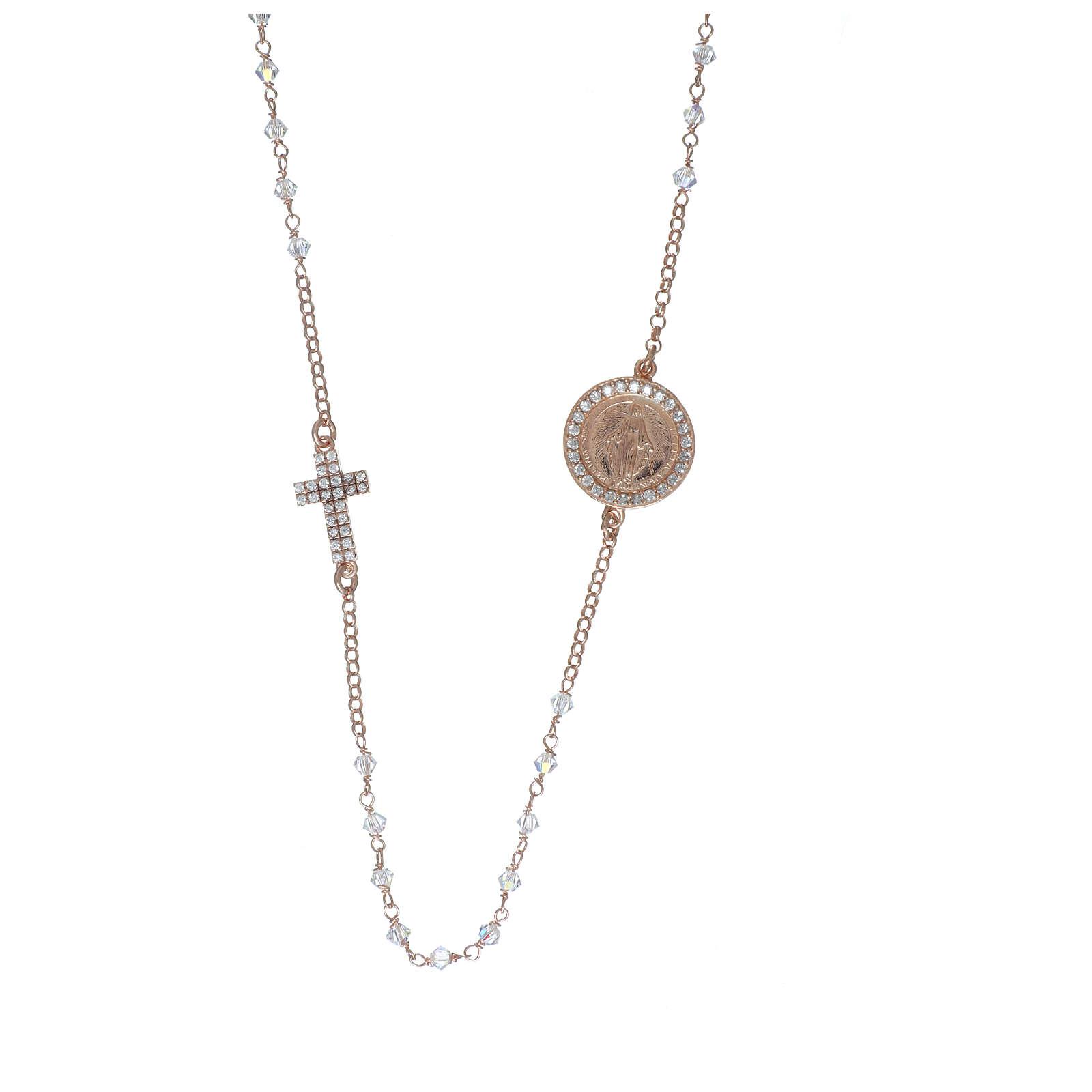 Collier chapelet argent 925 rosé avec Swarovski transparents 4