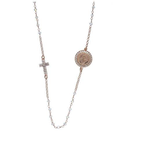 Collier chapelet argent 925 rosé avec Swarovski transparents 1