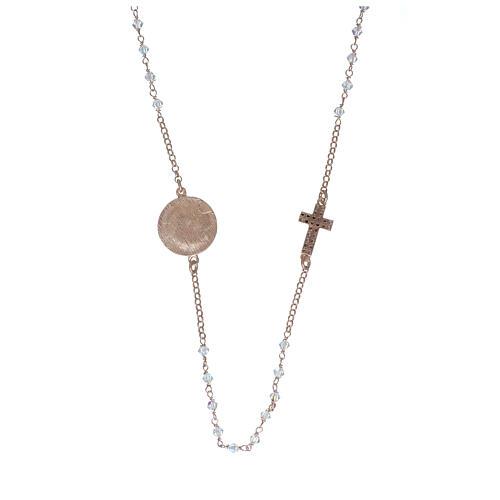 Collier chapelet argent 925 rosé avec Swarovski transparents 2