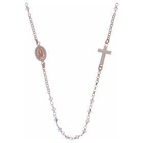 Collana rosario argento 925 rosé con Swarovski trasparenti s2