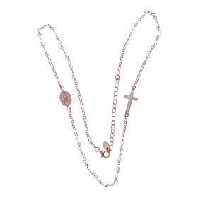 Collana rosario argento 925 rosé con Swarovski trasparenti s4