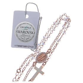 Collana rosario argento 925 rosé con Swarovski trasparenti s5