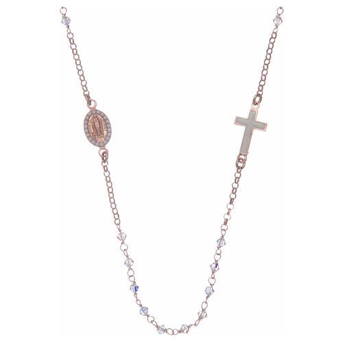 Collana rosario argento 925 rosé con Swarovski trasparenti 2