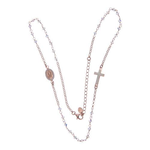 Collana rosario argento 925 rosé con Swarovski trasparenti 4