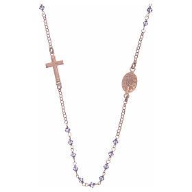 Rosario girocollo argento 925 rosato con Swarovski viola s2