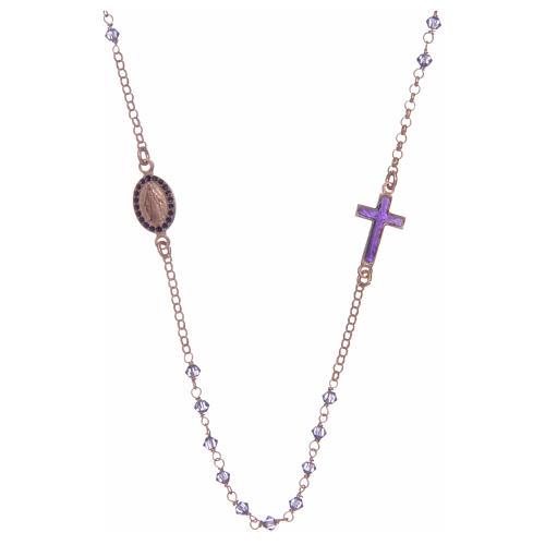 Rosario girocollo argento 925 rosato con Swarovski viola 1