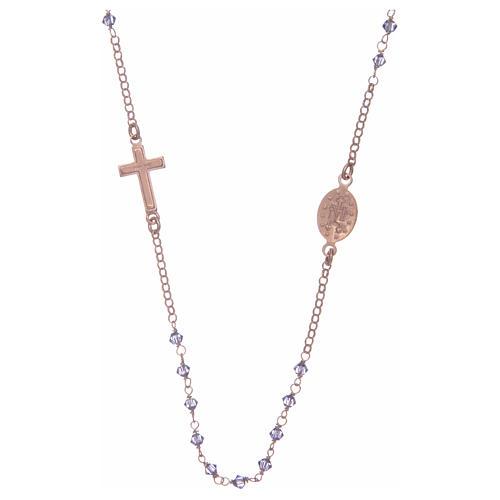 Rosario girocollo argento 925 rosato con Swarovski viola 2