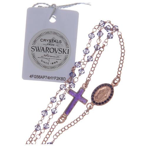 Rosario girocollo argento 925 rosato con Swarovski viola 4
