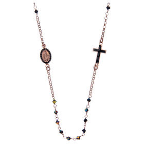 Chapelet collier argent 925 rosé et Swarovski noir s1
