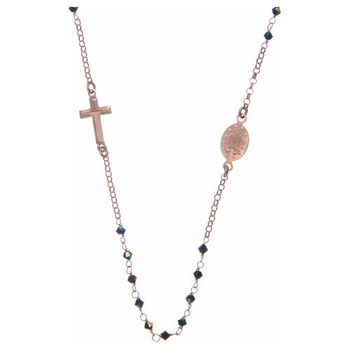 Chapelet collier argent 925 rosé et Swarovski noir 2