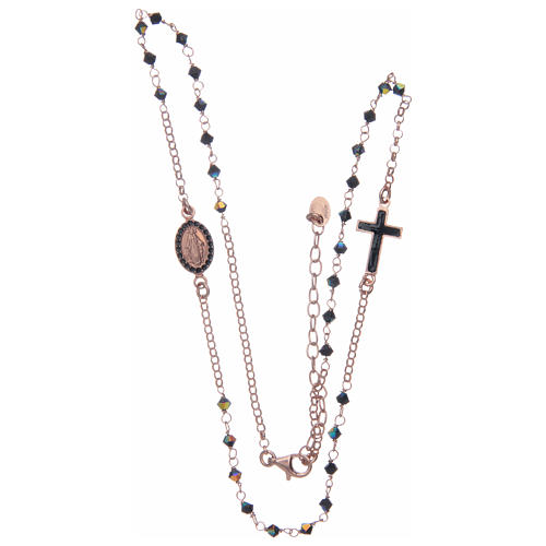 Chapelet collier argent 925 rosé et Swarovski noir 3