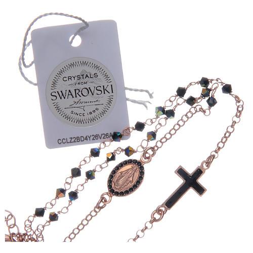 Chapelet collier argent 925 rosé et Swarovski noir 4