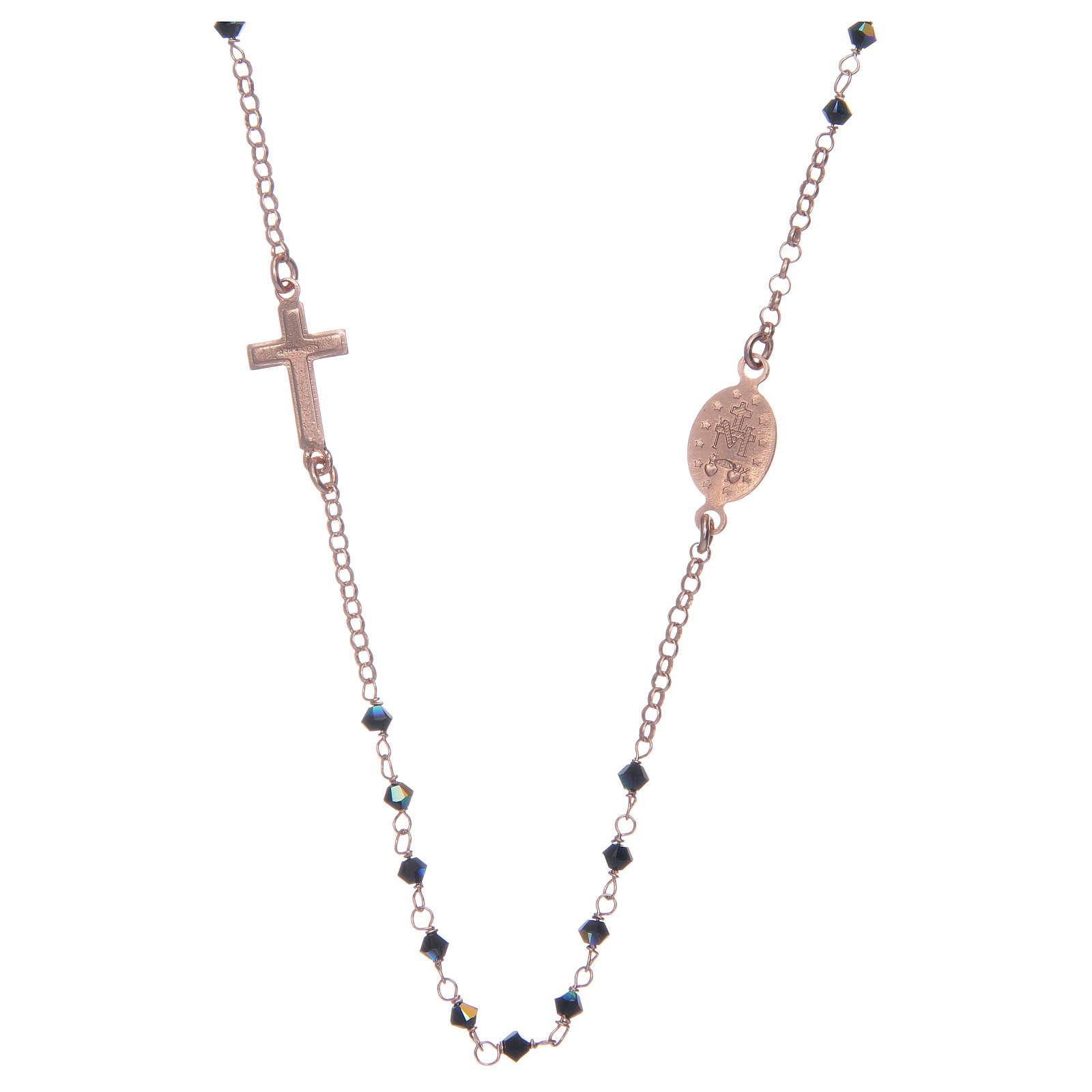 Rosario collana argento 925 rosato e Swarovski neri 4
