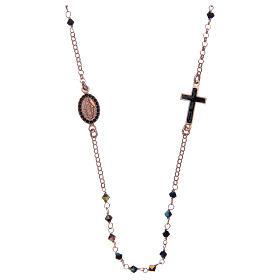 Rosario collana argento 925 rosato e Swarovski neri s1