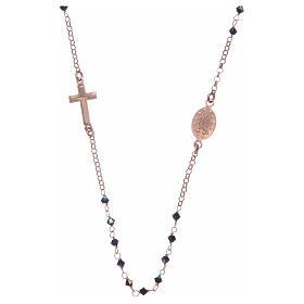 Rosario collana argento 925 rosato e Swarovski neri s2