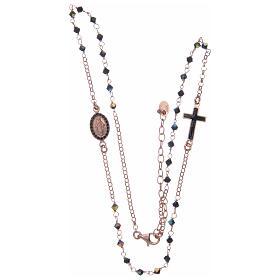 Rosario collana argento 925 rosato e Swarovski neri s3