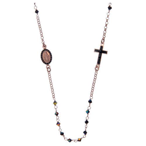 Rosario collana argento 925 rosato e Swarovski neri 1