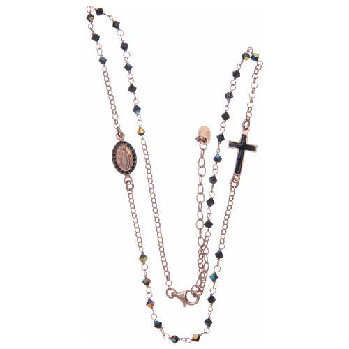 Rosario collana argento 925 rosato e Swarovski neri 3