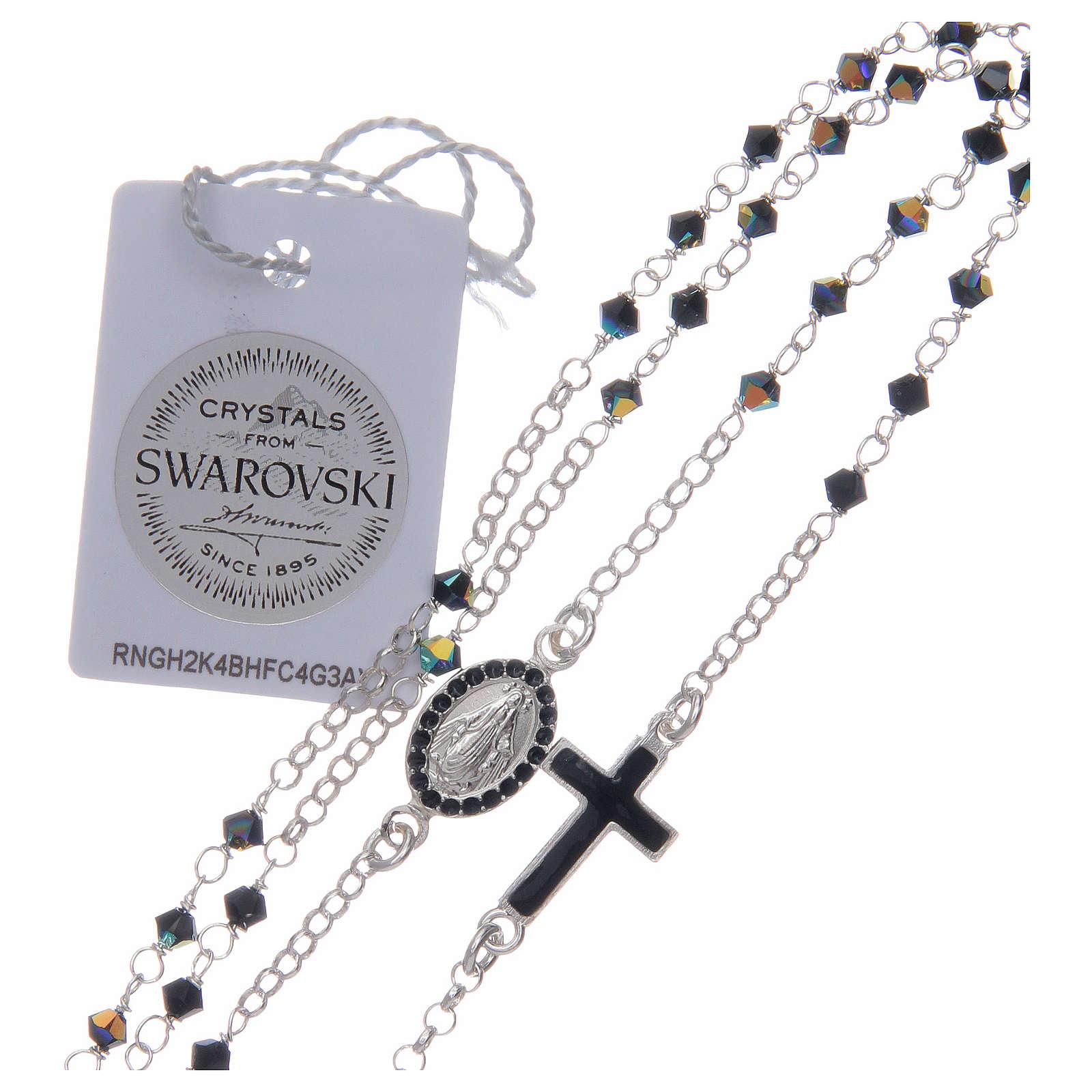nuovo stile 8440b f1d64 Dettagli su Collana Rosario uomo argento 925 con Swarovski neri