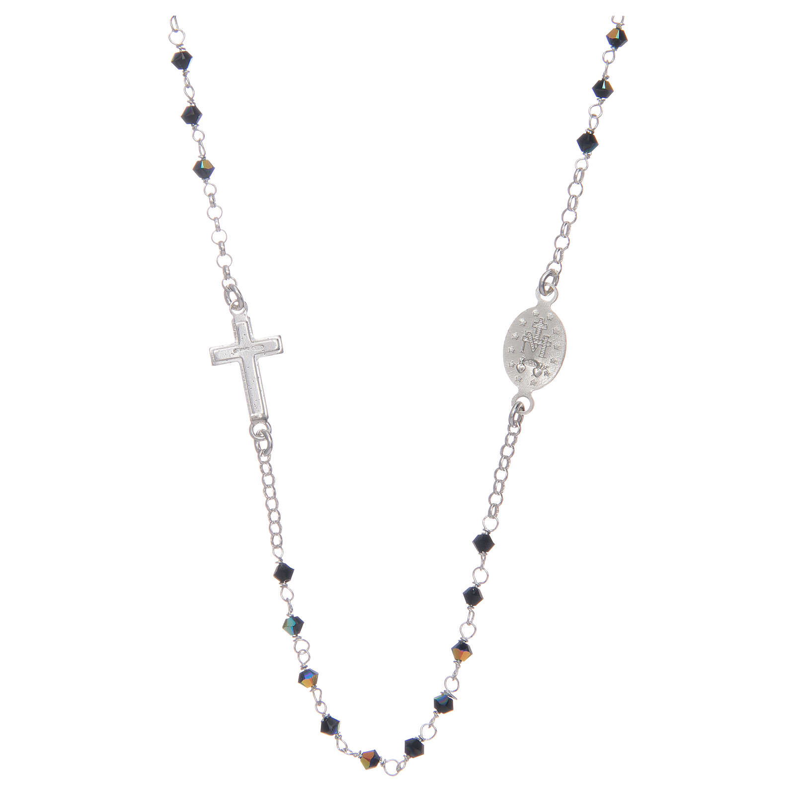 Rosary necklace for men in 925 sterling silver with black Swarovski grains 4