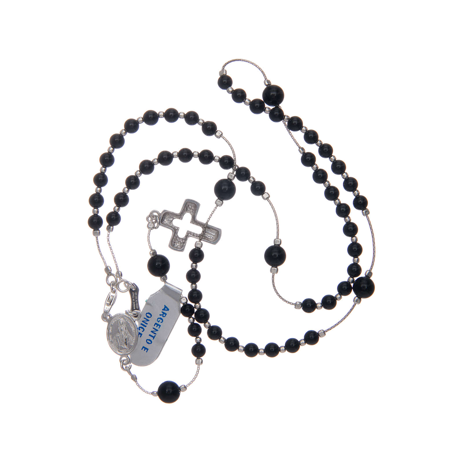 Rosary in 925 sterling silver and onyx 4