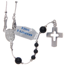 Rosary in 925 sterling silver and onyx s2