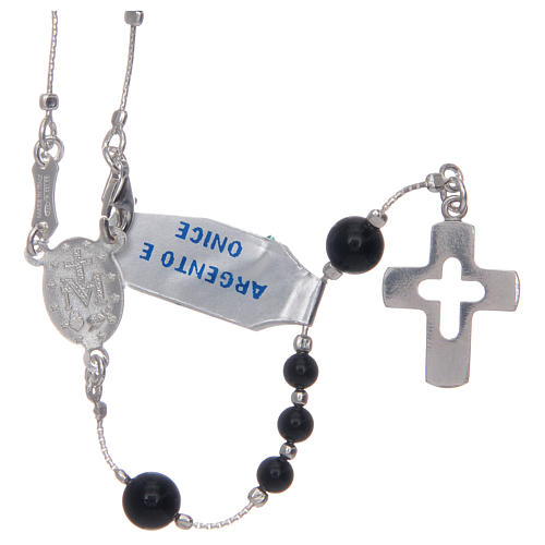 Rosary in 925 sterling silver and onyx 2