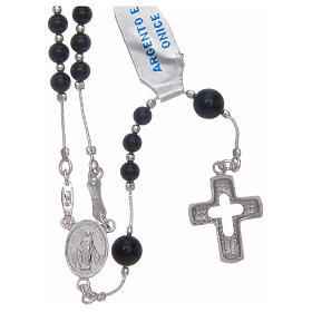 Rosary in 925 sterling silver and onyx s1