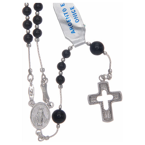 Rosary in 925 sterling silver and onyx 1