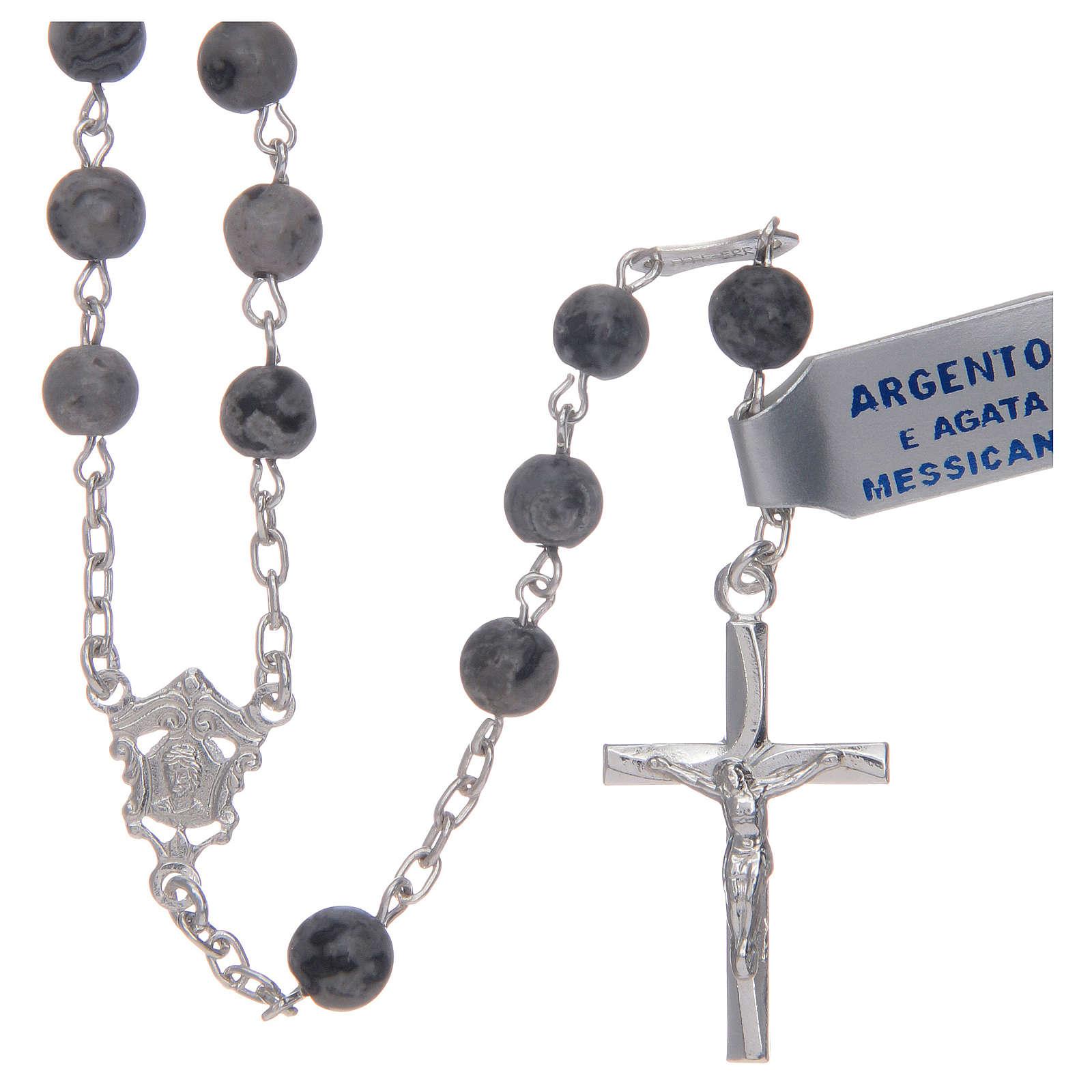 Rosario in agata messicana in argento 800 4