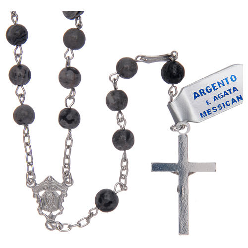 Rosario in agata messicana in argento 800 2