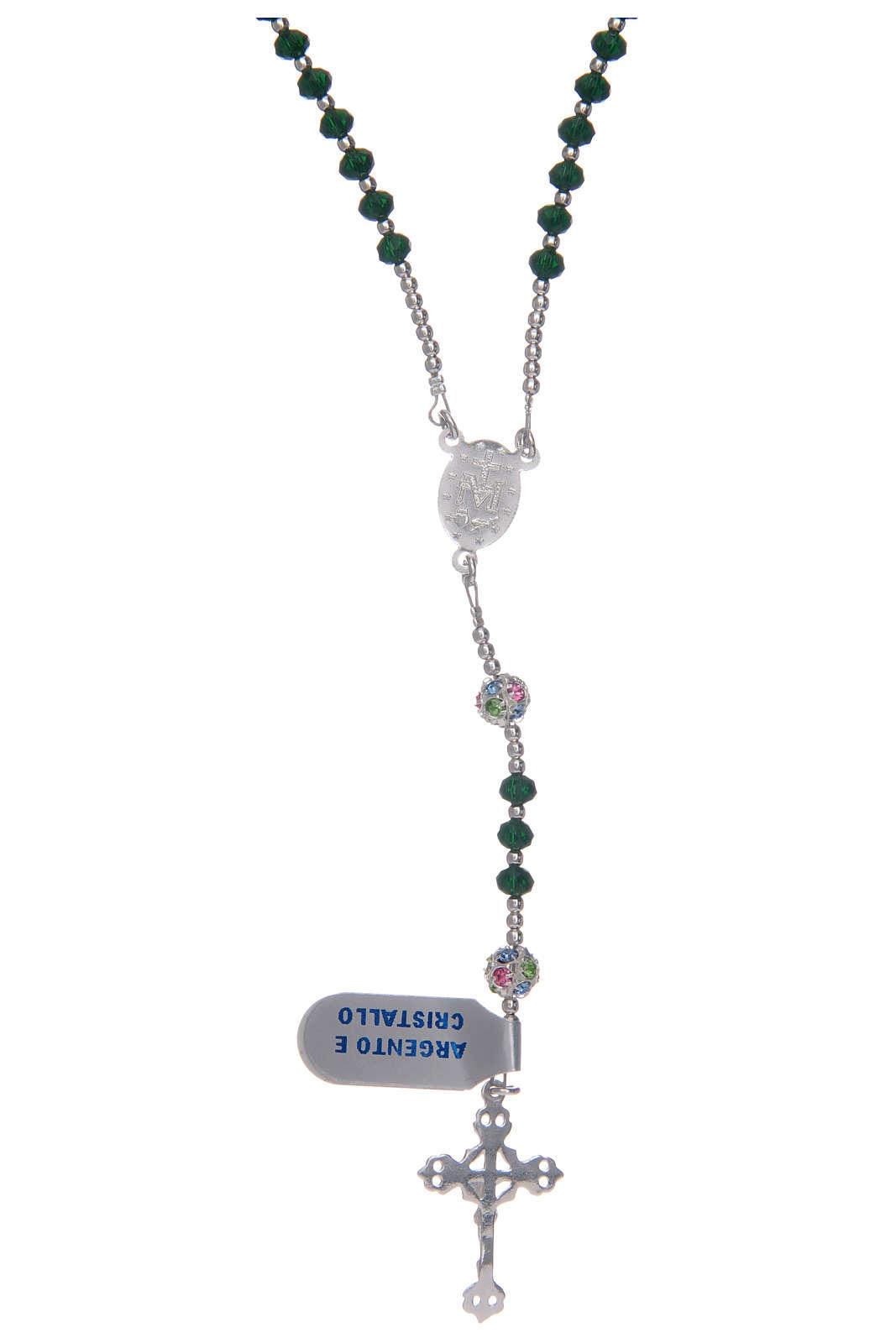 Rosario in cristallo da collo su cavetto in argento 800 e cristallo verde 4