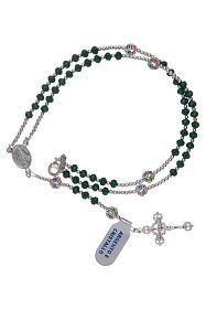 Rosario in cristallo da collo su cavetto in argento 800 e cristallo verde s3