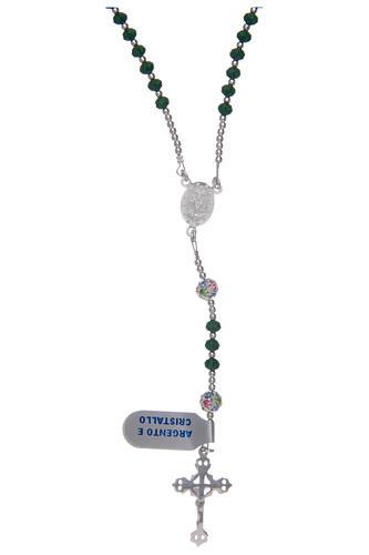Rosario in cristallo da collo su cavetto in argento 800 e cristallo verde 2