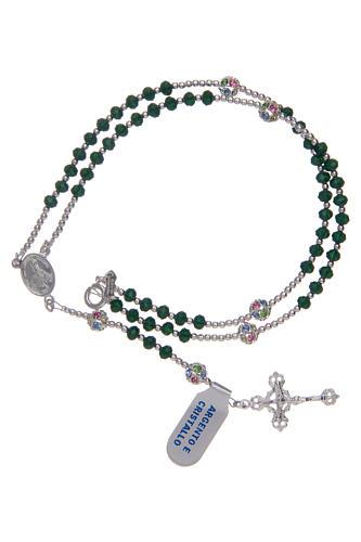 Rosario in cristallo da collo su cavetto in argento 800 e cristallo verde 3