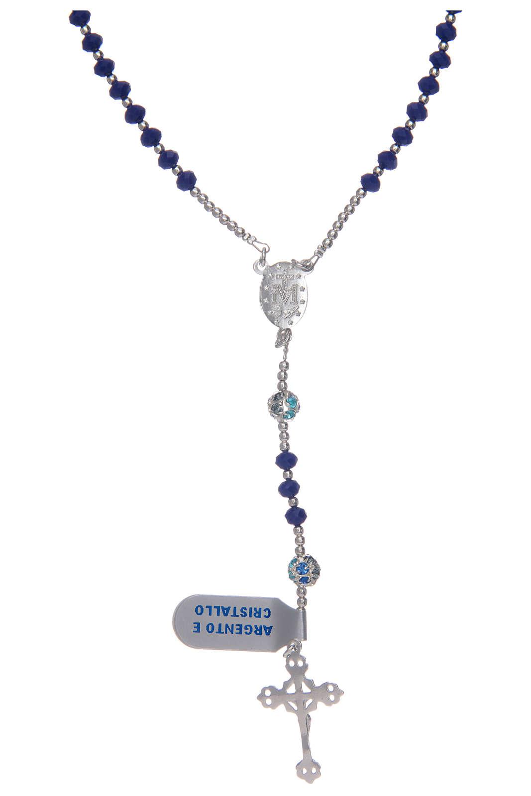 Rosario in argento 800 in cristallo di colore blu 4